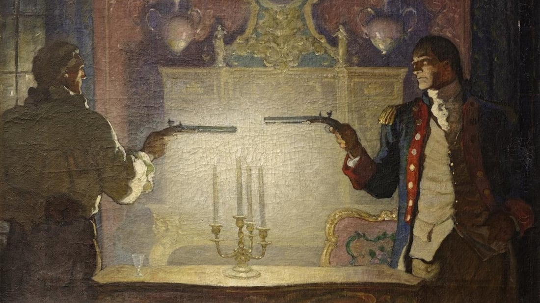 N.C. Wyeth's The Duelwas recovered from a Beverly Hills, California pawn shop in 2014, thanks to the FBI's National Stolen Art File database.