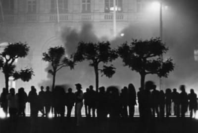 Rioters outside of San Francisco City Hall on the night of May 21, 1979, reacting to the voluntary manslaughter verdict for Dan White, which ensured White would serve just five years for the murders of Harvey Milk and George Moscone.