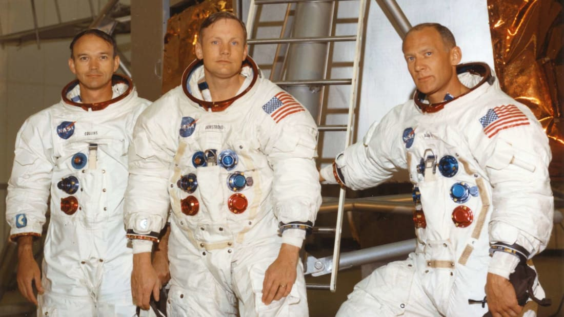Apollo 11 features never-before-seen footage and audio of astronauts Michael Collins (left), Neil Armstrong (middle), and Buzz Aldrin (right).