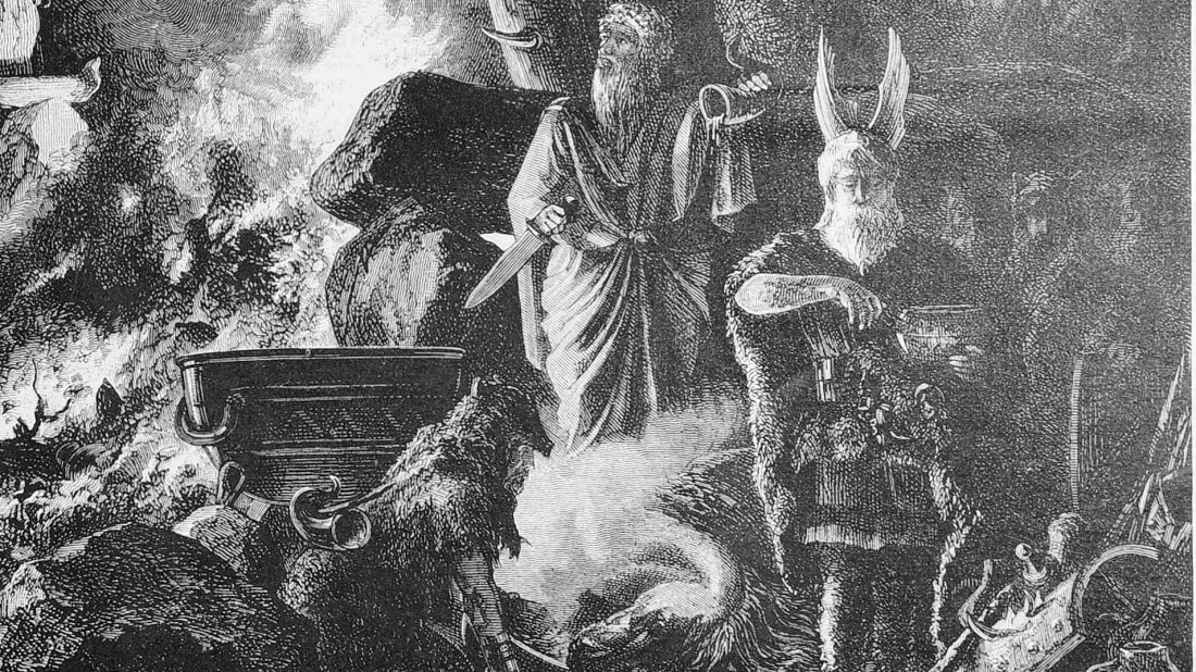 An illustration of an ancient Yule celebration, as seen in the German newspaper Die Gartenlaube in 1880.
