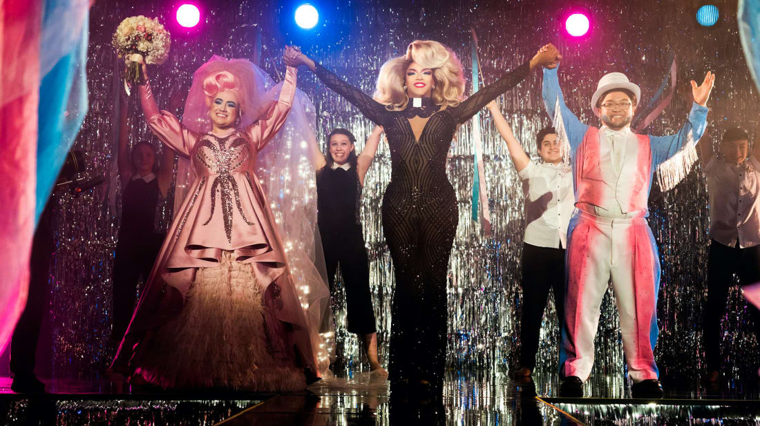 Shangela Laquifa Wadley takes a bow with a couple of newly-minted drag queens on the HBO Max Original We're Here.