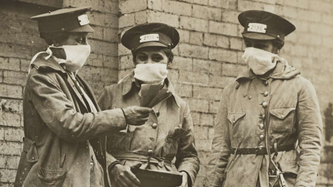 These New York tram conductors, photographed during the 1918 influenza, don't seem interested in joining any Anti-Mask League.