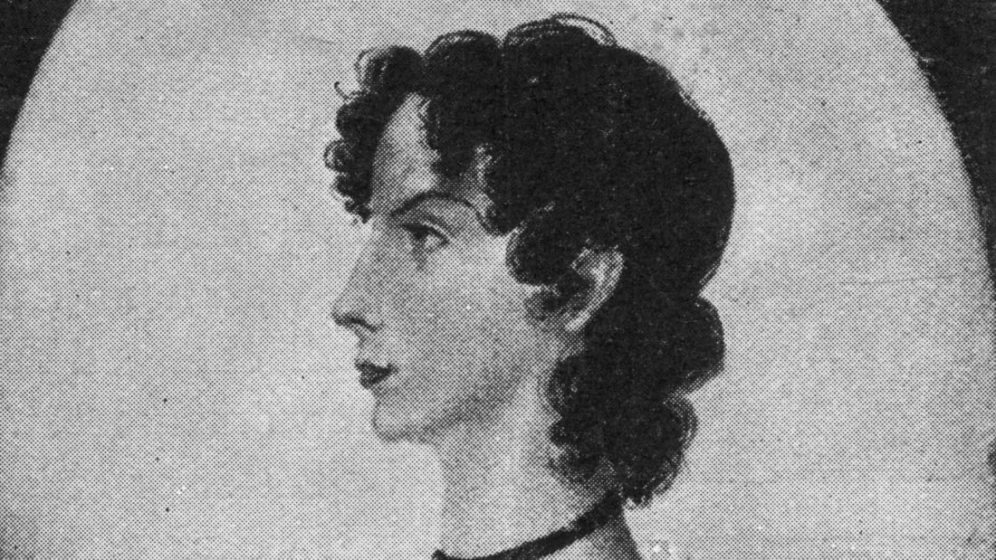 A drawing of Anne Brontë by her sister, Charlotte Brontë.