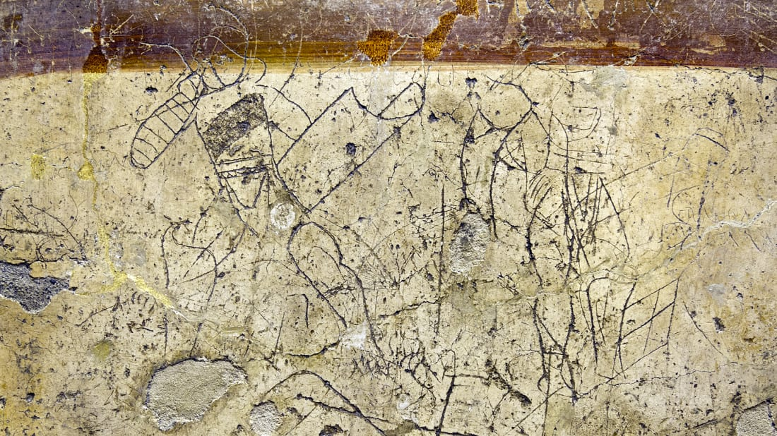 Graffiti of gladiators from Pompeii at the Naples National Archaeological Museum