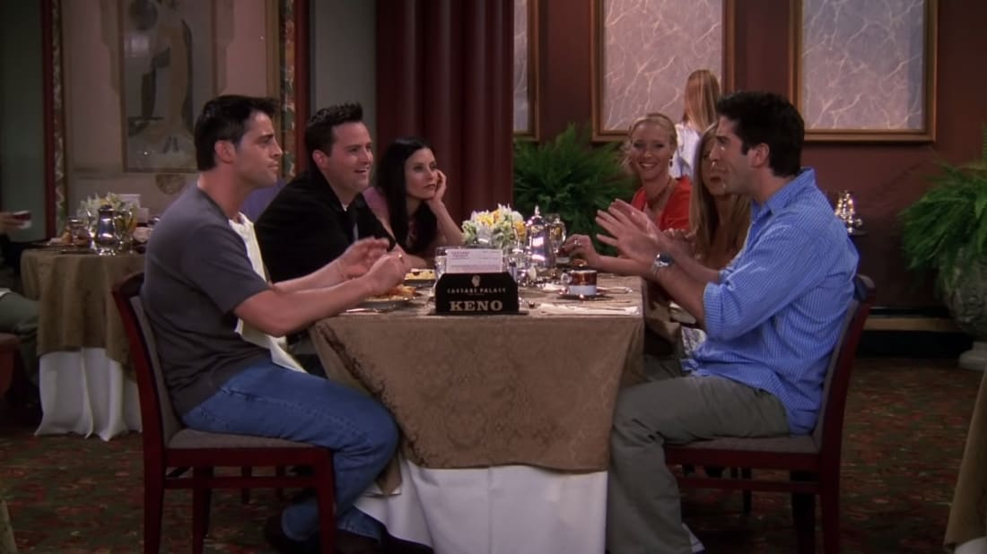 The friends brunching in Las Vegas after Ross and Rachel impulsively tied the knot.