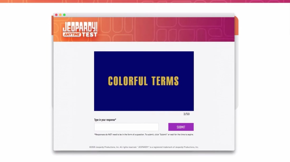 You might want to brush up on colorful terms before taking the Jeopardy! Anytime Test.
