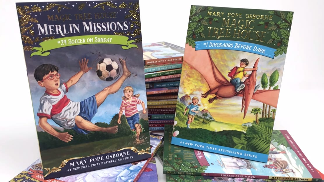 Magic tree houses and minivans are both known to transport kids to soccer games on Sundays.