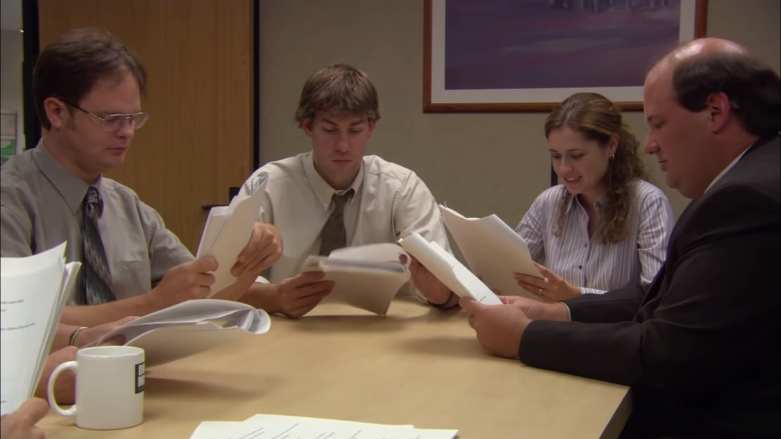 Dwight, Jim, Pam, and Kevin do their best to bring Michael's action thriller to life.