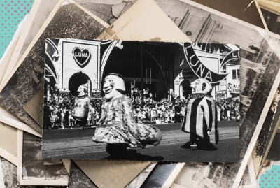 Shutterstock/Nana_Studio (stack of photos); Hulton Archive/Getty Images (parade)
