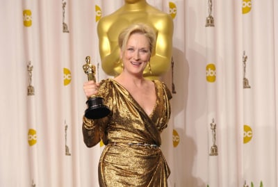 Meryl Streep with her Oscar for The Iron Lady in 2012.