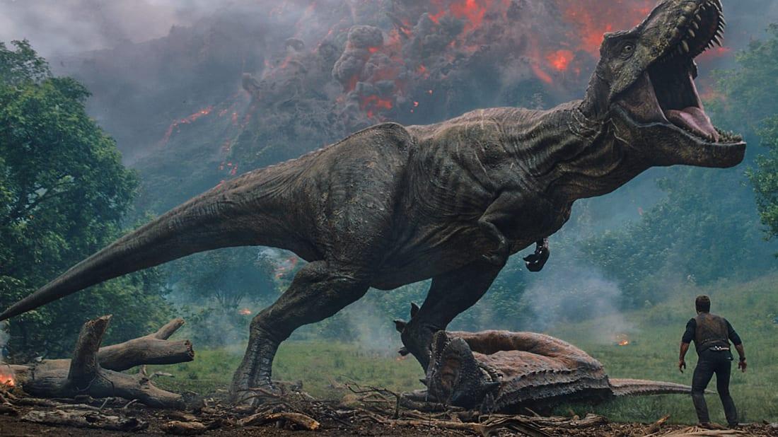 Chris Pratt meets the vicious T. rex in Jurassic World: Fallen Kingdom (2018)