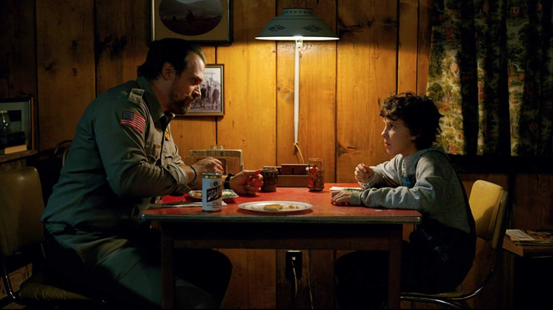 David Harbour and Millie Bobby Brown in Stranger Things.