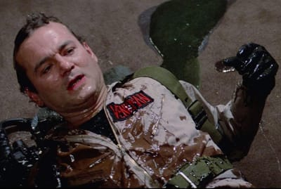 Bill Murray gets slimed in Ghostbusters (1984).