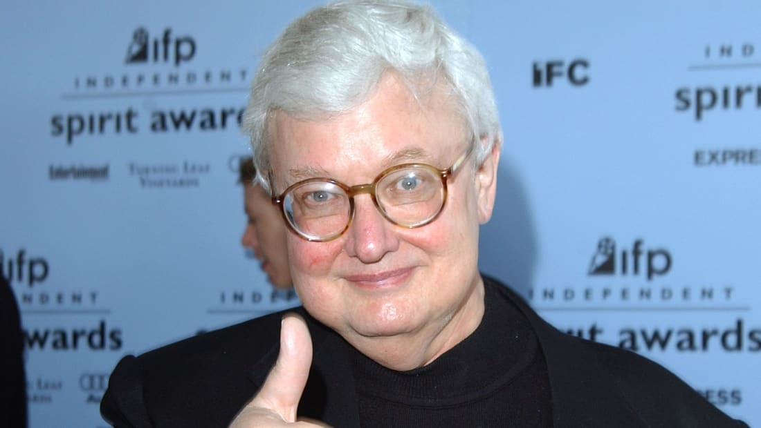 Film critic Roger Ebert gives a thumbs-up at the 2003 IFP Independent Spirit Awards in Santa Monica, California.