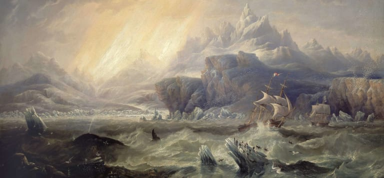 An 1847 illustration of the HMS Terror and HMS Erebus during an earlier Arctic expedition, by James Wilson Carmichael.