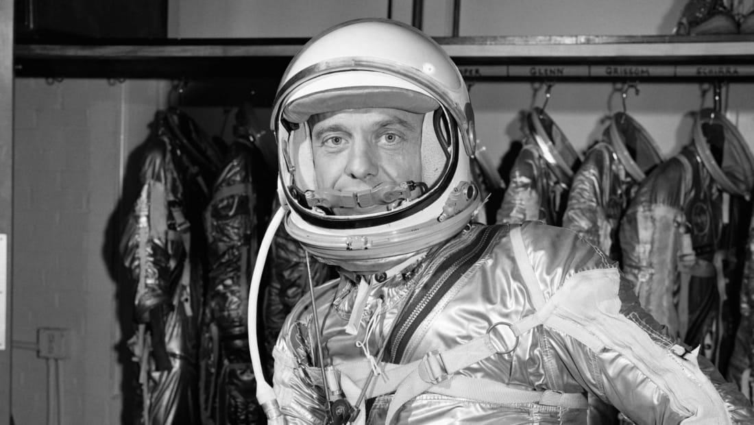 Astronaut Alan Shepard wears his pressure suit for the Mercury-Redstone 3 (MR-3) flight, the first American crewed spaceflight.