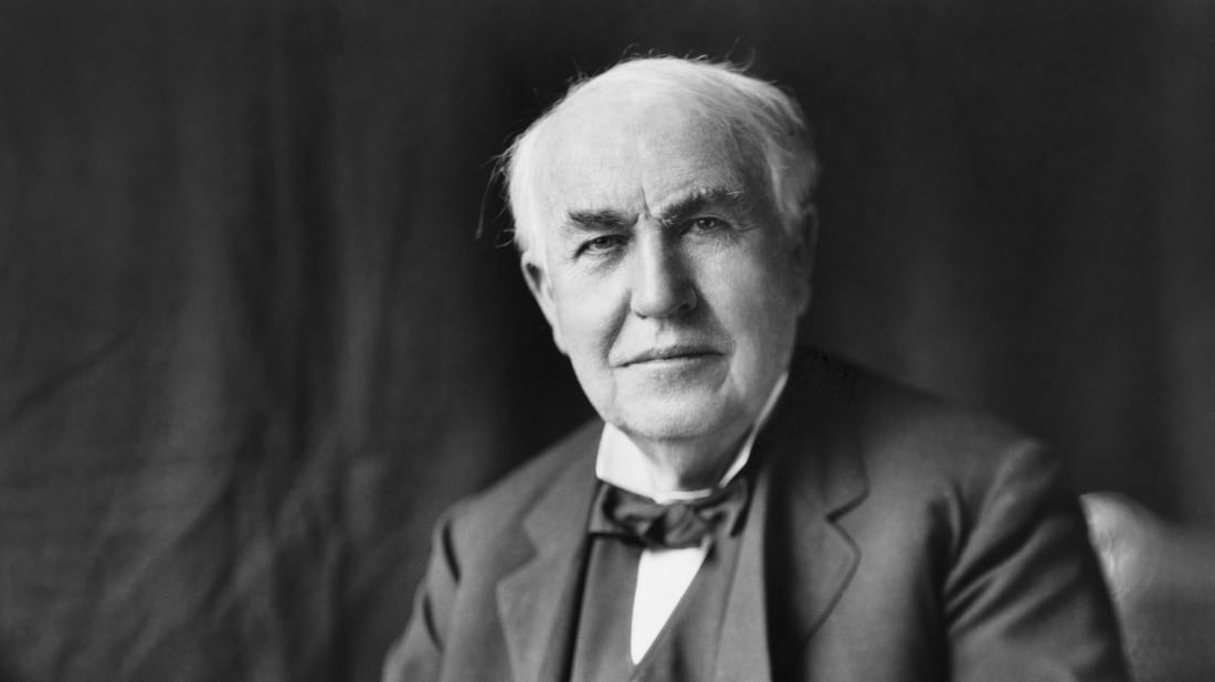 A photo of inventor Thomas Edison, who was born in Milan, Ohio, on February 11, 1847.