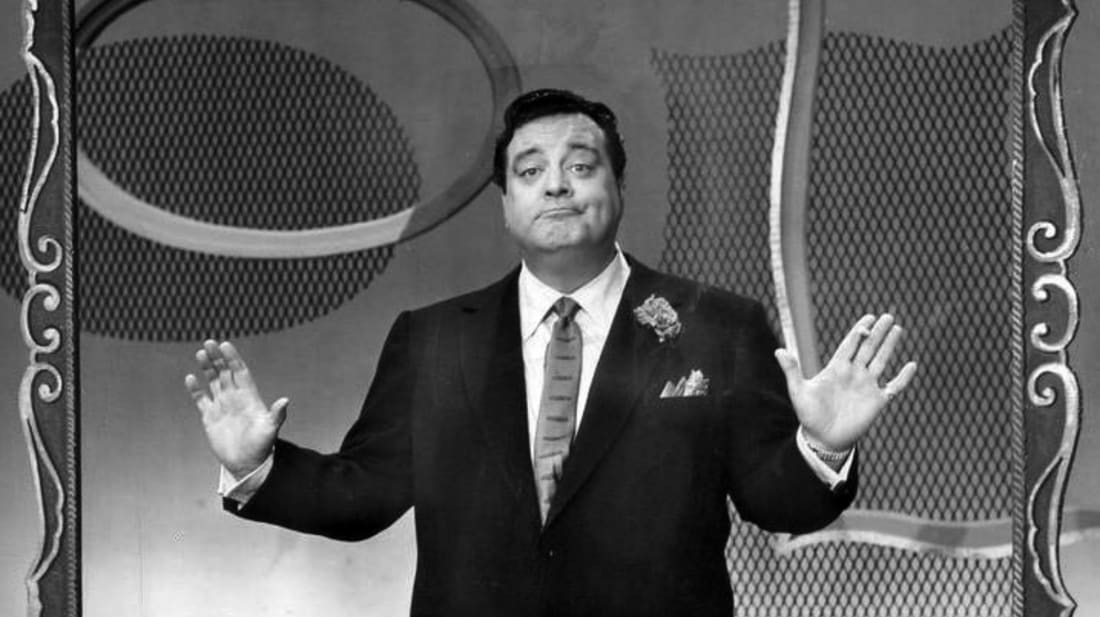 Jackie Gleason on the set of You're in the Picture, arguably the worst game show to ever air.
