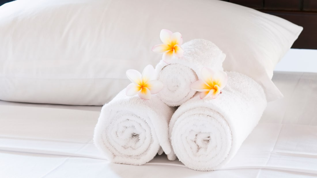 Hotels like to use white sheets and towels.