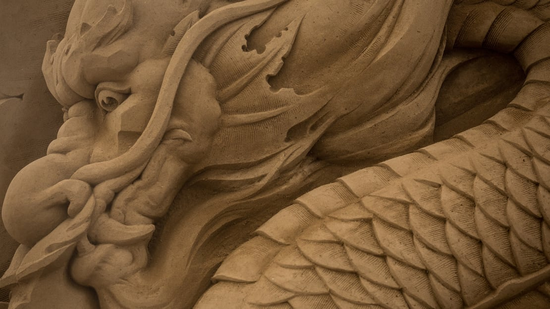 A dragon sand sculpture in Yokohama, Japan