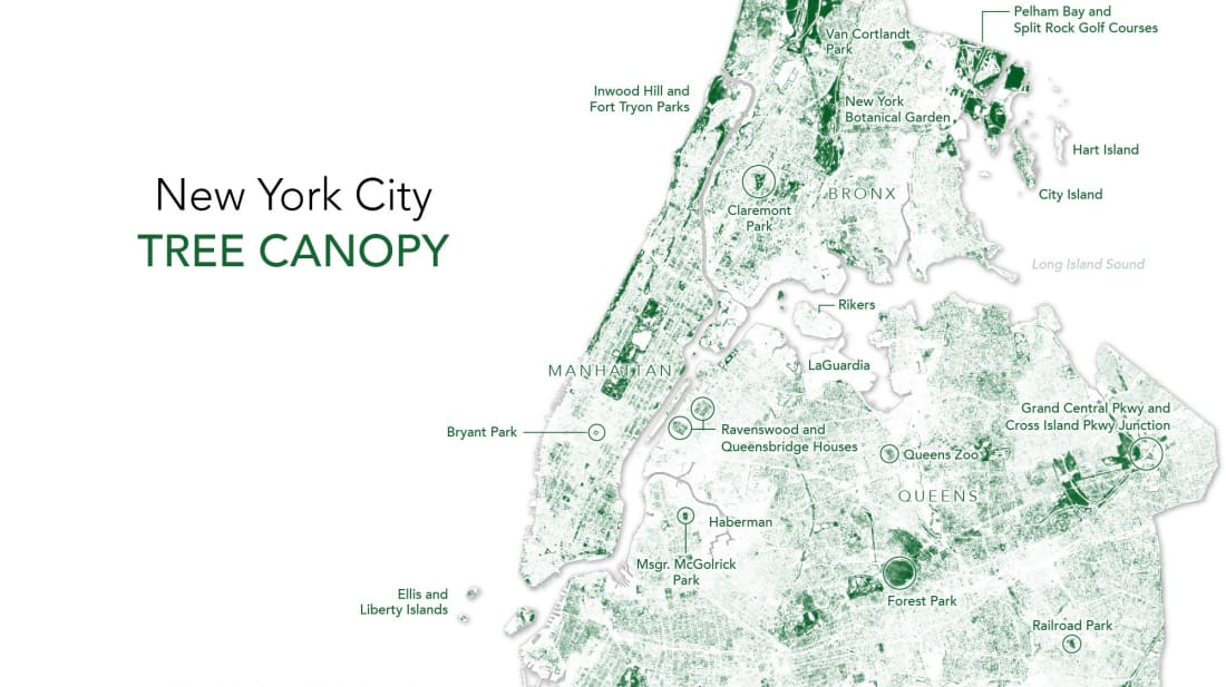 Map Of New York Islands.This Map Shows All The Trees In New York City Mental Floss