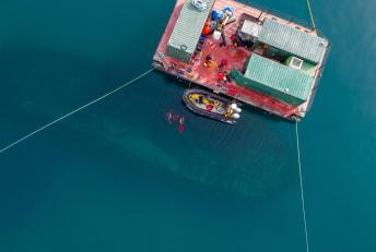 Drone image above the HMS Erebus shipwreck.