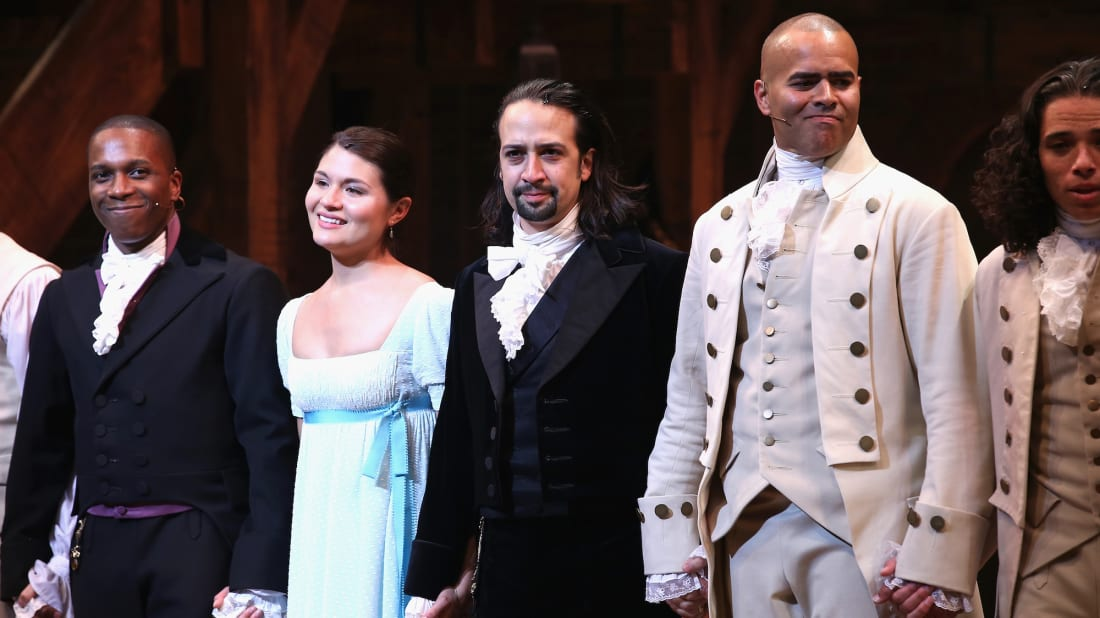 (L-R) Leslie Odom, Jr.; Phillipa Soo; Lin-Manuel Miranda; and Christopher Jackson star in Hamilton.