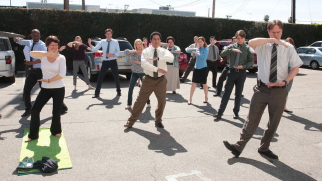 The cast of The Office in a scene from the series finale.