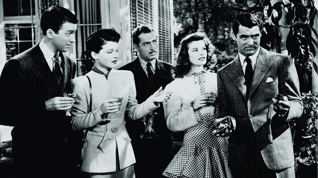 James Stewart, Ruth Hussey, John Howard, Katharine Hepburn, and Cary Grant in The Philadelphia Story (1940).