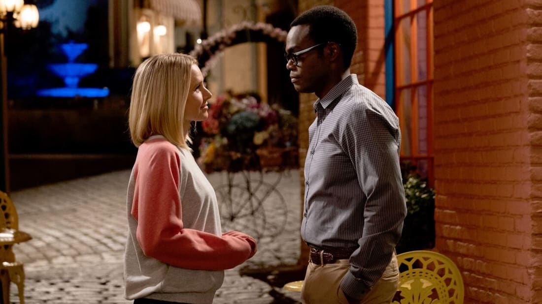 Kristen Bell and William Jackson Harper in NBC's The Good Place.