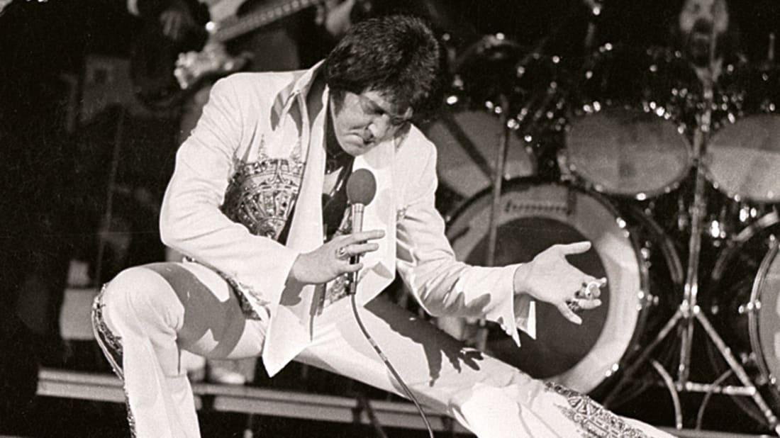 Elvis Presley in concert in Milwaukee, Wisconsin on April 27, 1977.