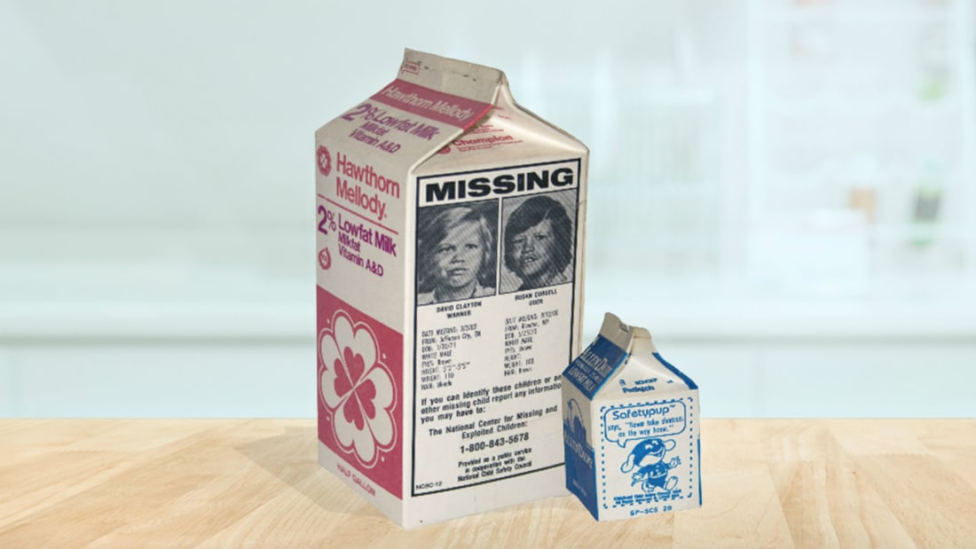 Photo illustration by Mental Floss. Milk Cartons: Courtesy of the National Child Safety Council. Background: iStock.