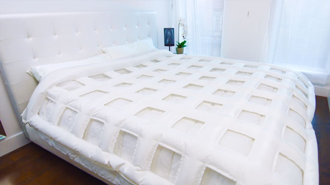 The Smartduvet's Smart Layer fastens between your own duvet cover and top sheet.