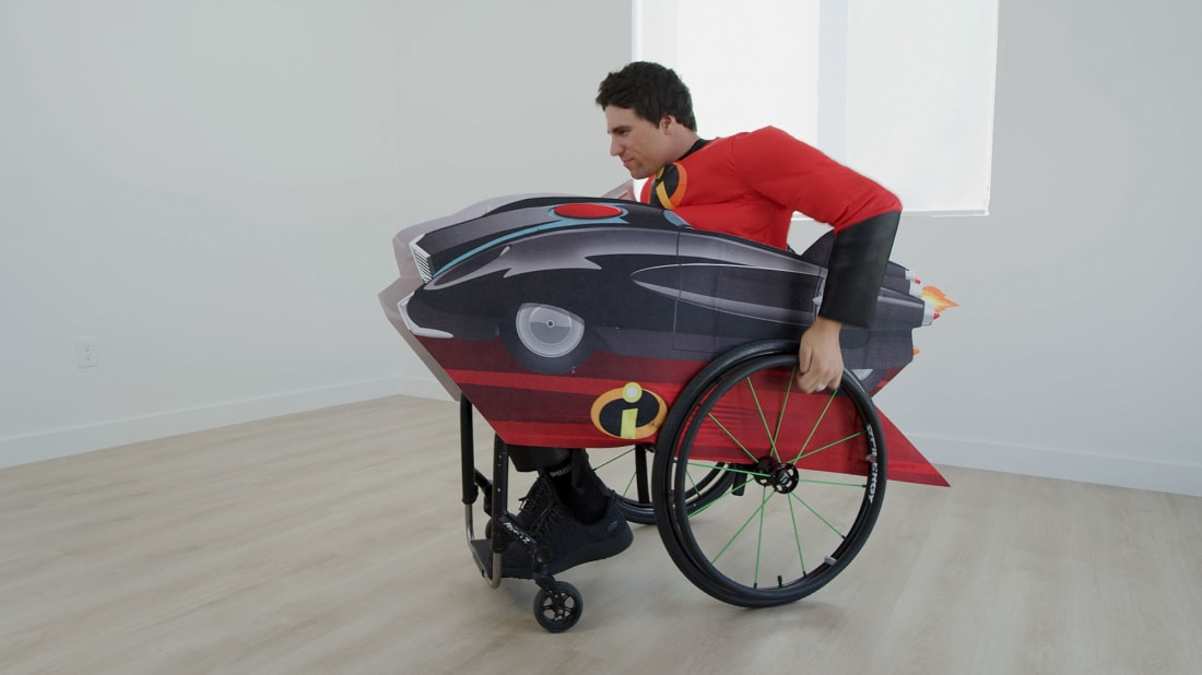 Fans of The Incredibles series can transform a wheelchair into the Incredimobile.