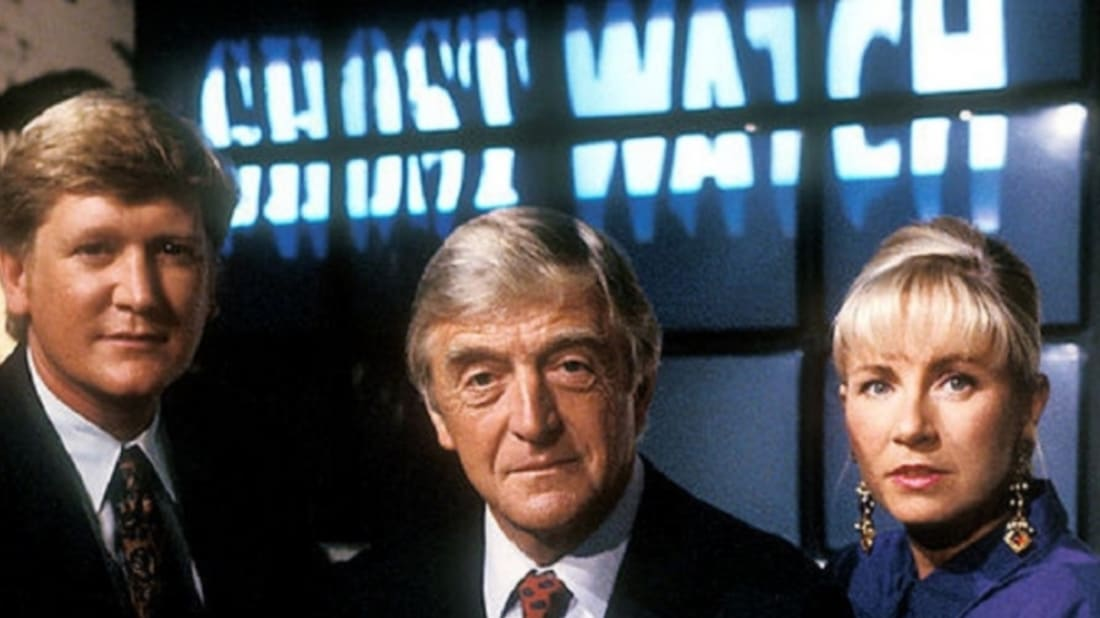Michael Parkinson, Mike Smith, and Sarah Greene in Ghostwatch (1992).