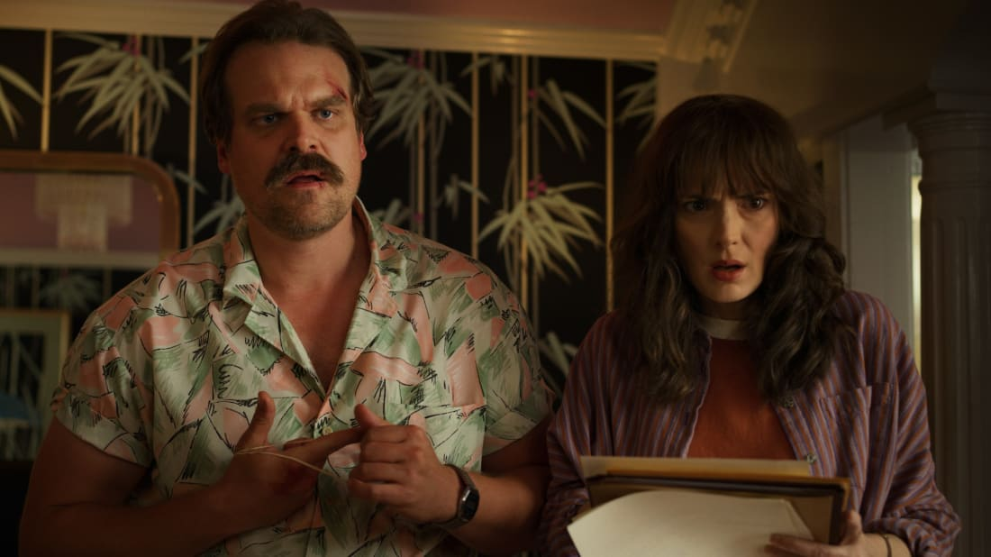 David Harbour and Winona Ryder in a scene from Stranger Things.