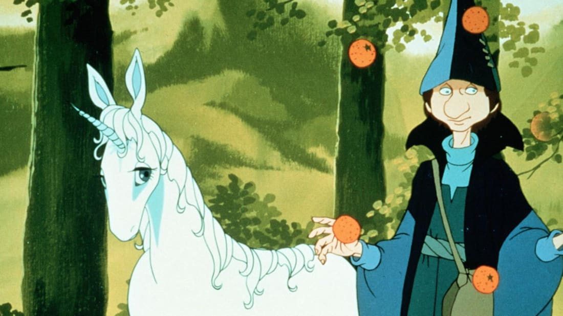 Mia Farrow and Alan Arkin in The Last Unicorn (1982).