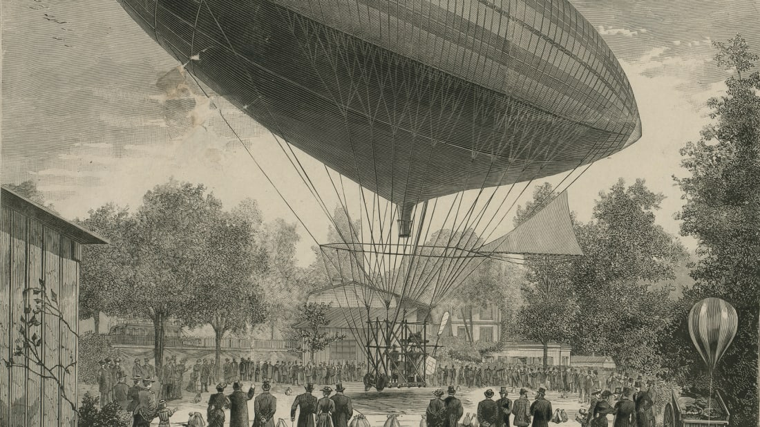 An electric airship departing Paris in 1883.