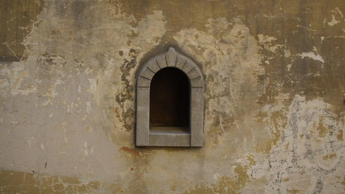 A wine window in Florence's Via Santo Spirito.
