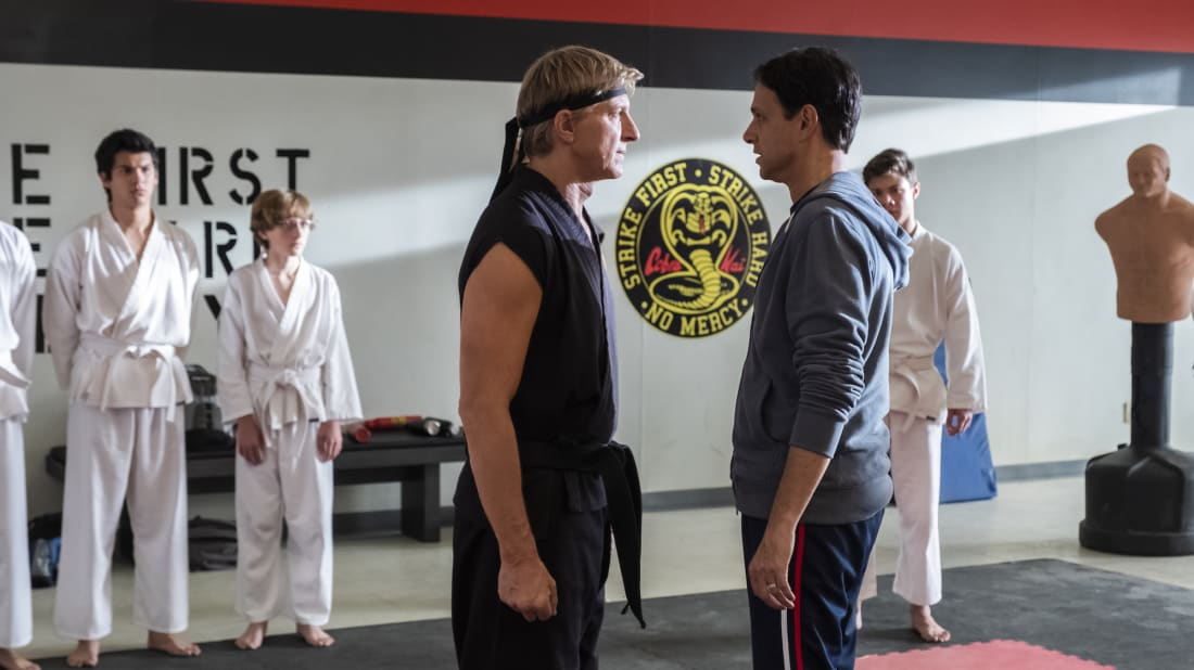 William Babka and Ralph Macchio in Cobra Kai.