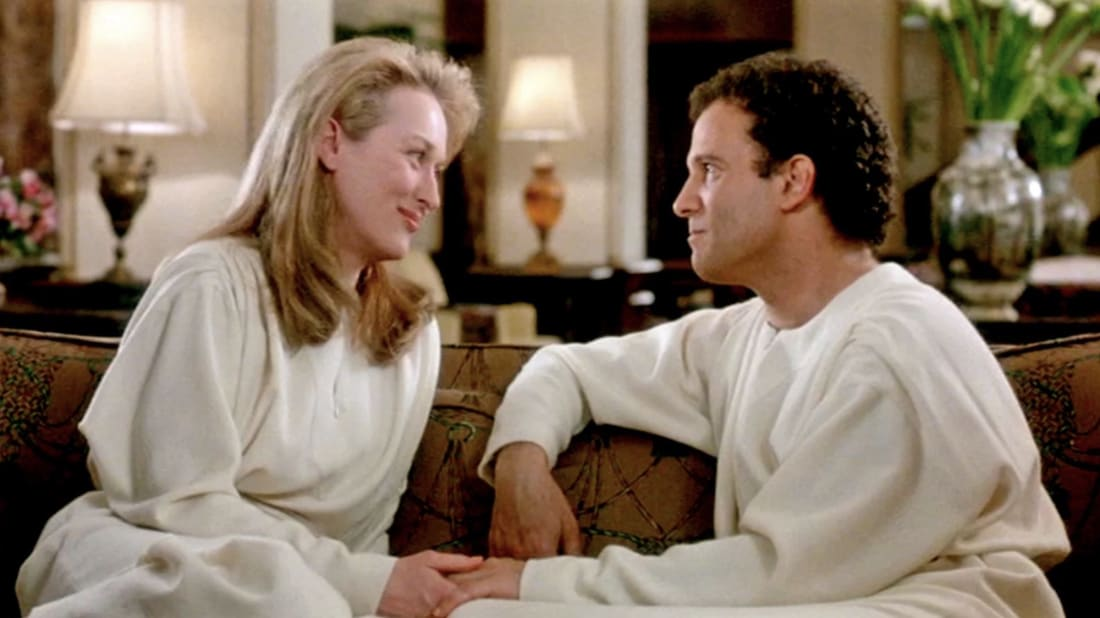 Meryl Streep and Albert Brooks find romance in the afterlife in Defending Your Life (1991).