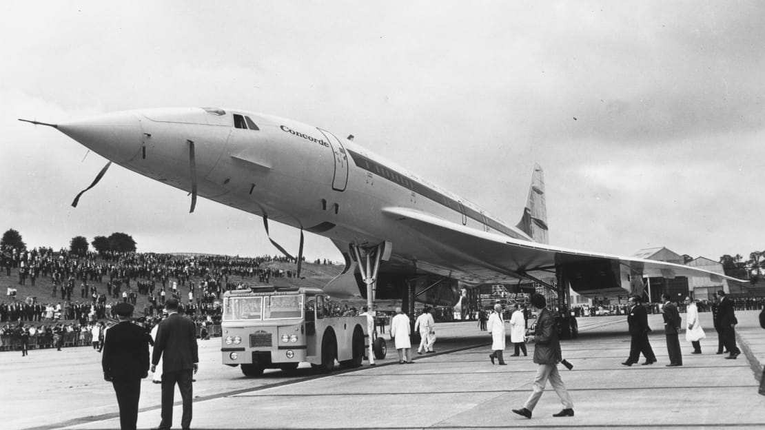 The Concorde is seen rolling off an assembly line in 1968.