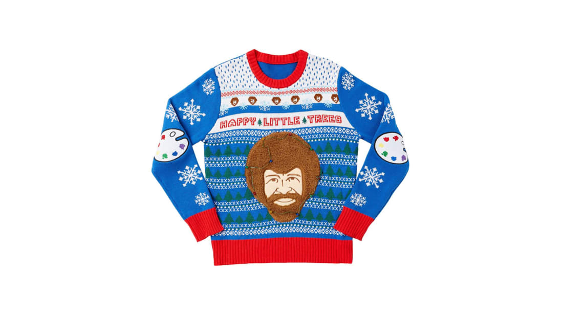 This Delightfully Ugly Christmas Sweater Features a Light-Up Bob Ross Head