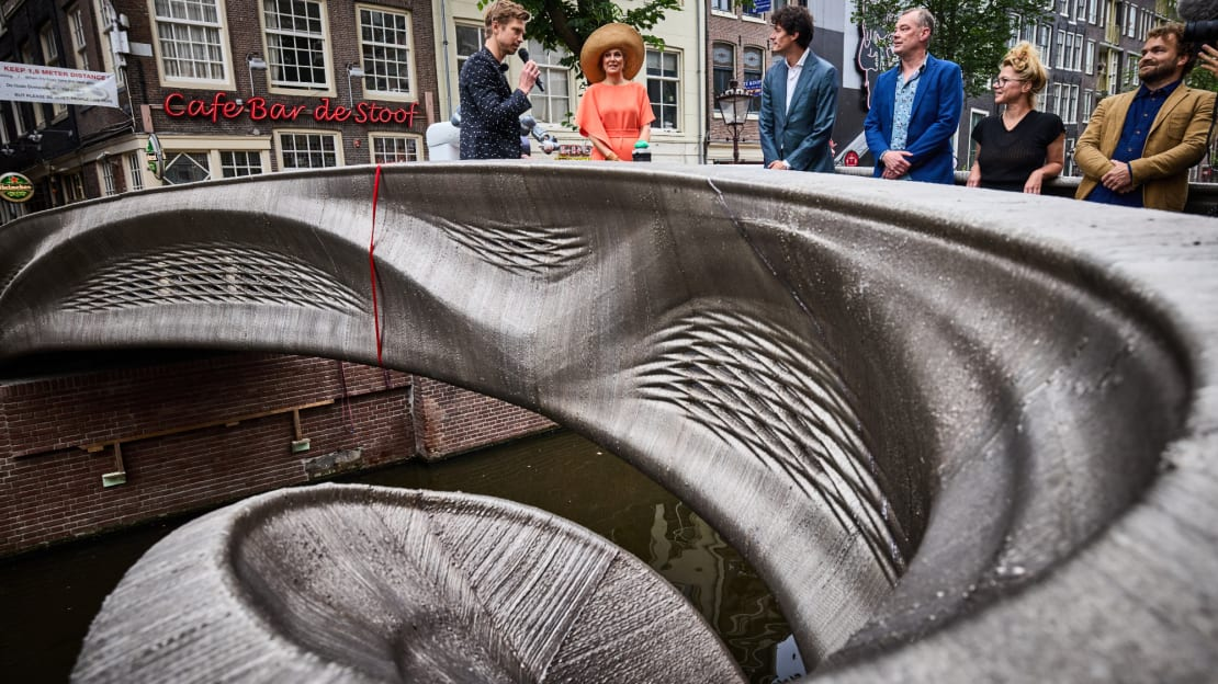 Dutch Queen Máxima attends the opening of a 3D bridge crafted by MX3D.