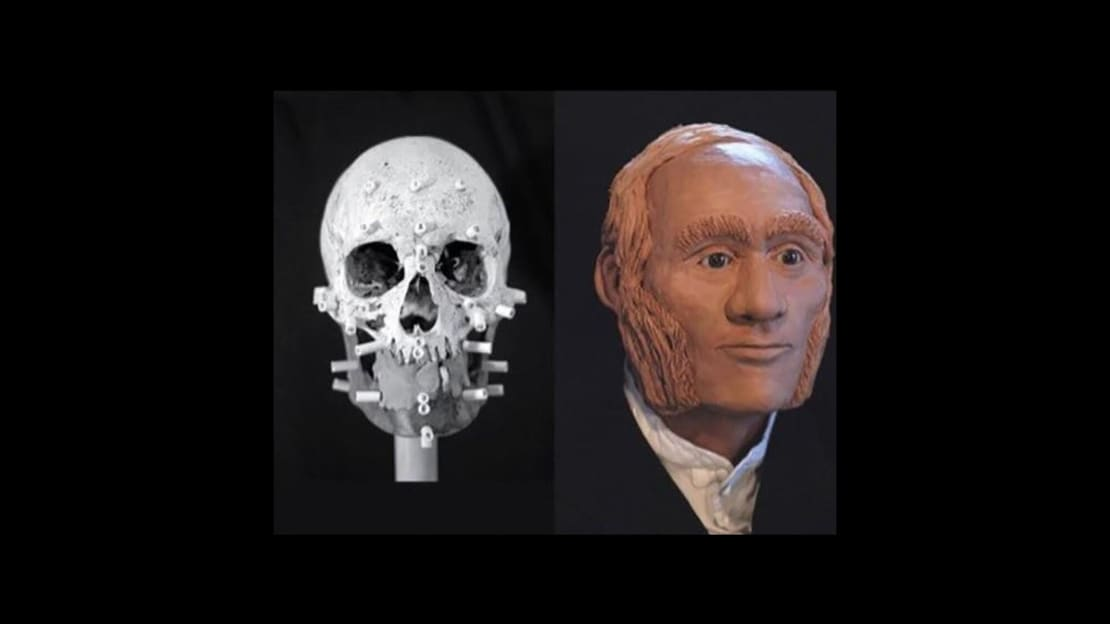 John Gregory's actual skull alongside a 3D rendering of his head.