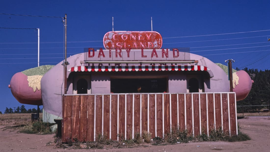 The Coney Island Dairyland food stand, Aspen, Colorado, 1980.