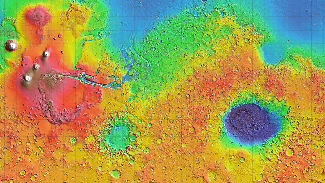 Mars topography visualized on a rainbow scale