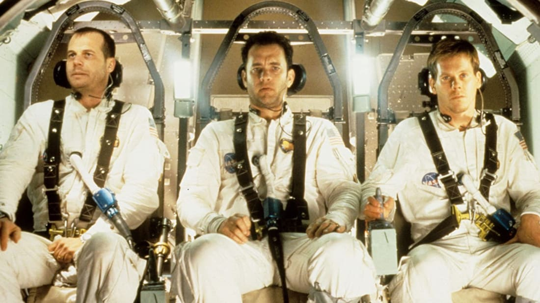 Bill Paxton, Tom Hanks, and Kevin Bacon star in Apollo 13 (1995).