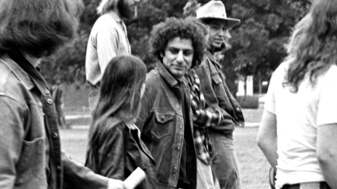 Abbie Hoffman visiting the University of Oklahoma to protest the Vietnam War.