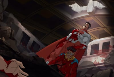 J.K. Simmons as Omni-Man and Steven Yeun as Mark Grayson in Invincible.